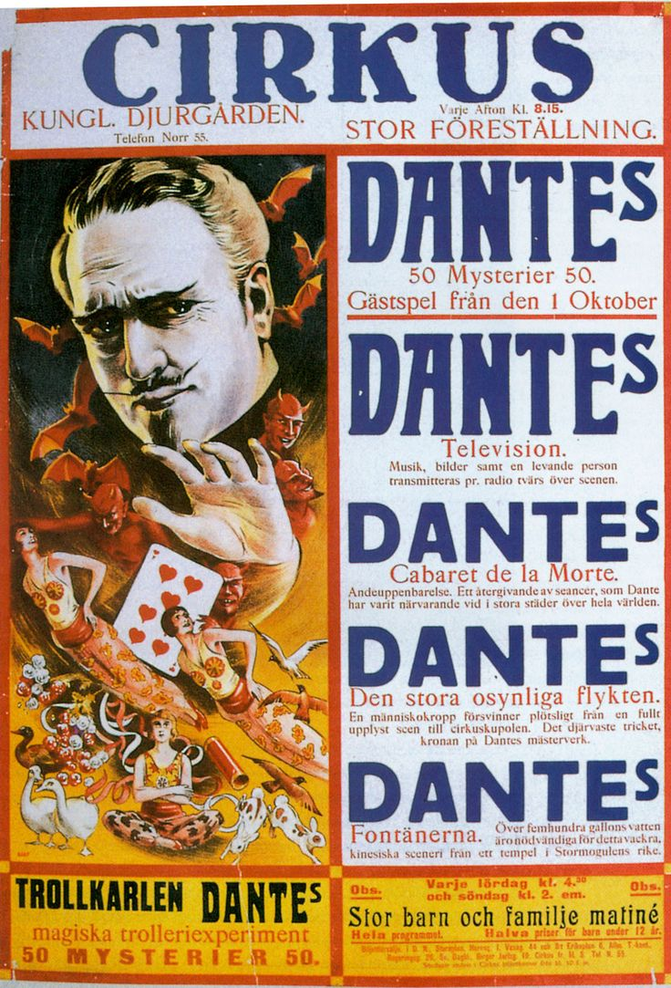 Poster for Dante's 50 Mysteries act in Europe