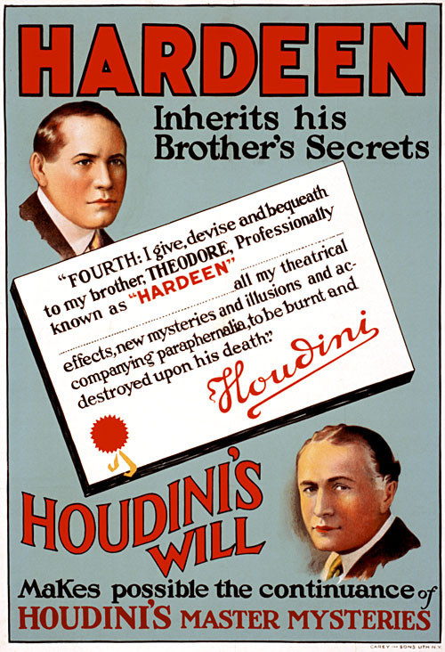Hardeen's poster disclaiming his inheritance of Houdini's secrets