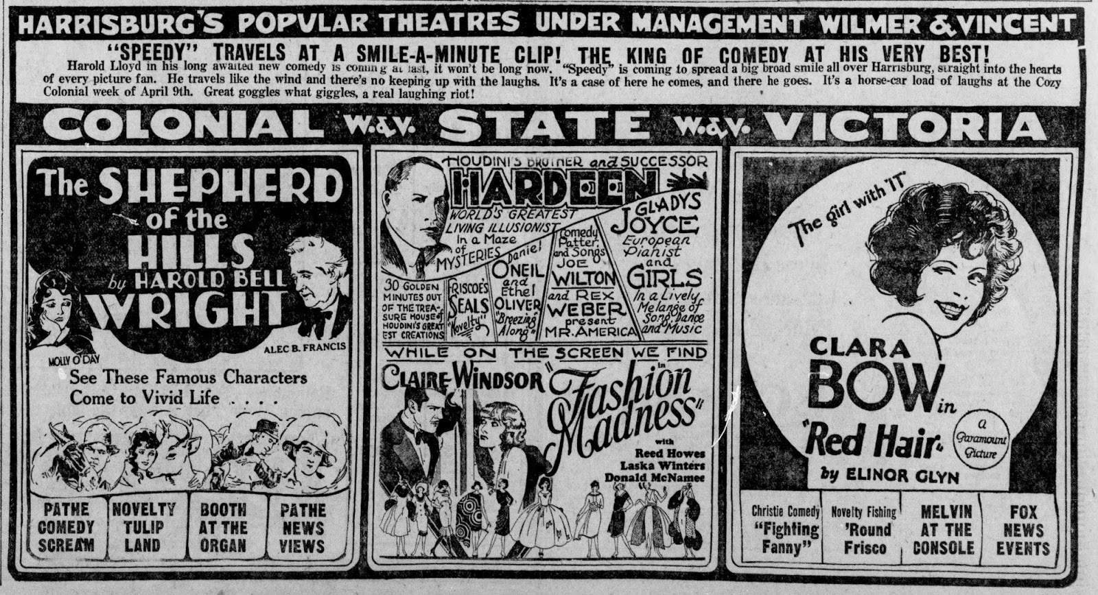 Ad for one of Hardeen's performances at Harrisburg's Popular Theatres