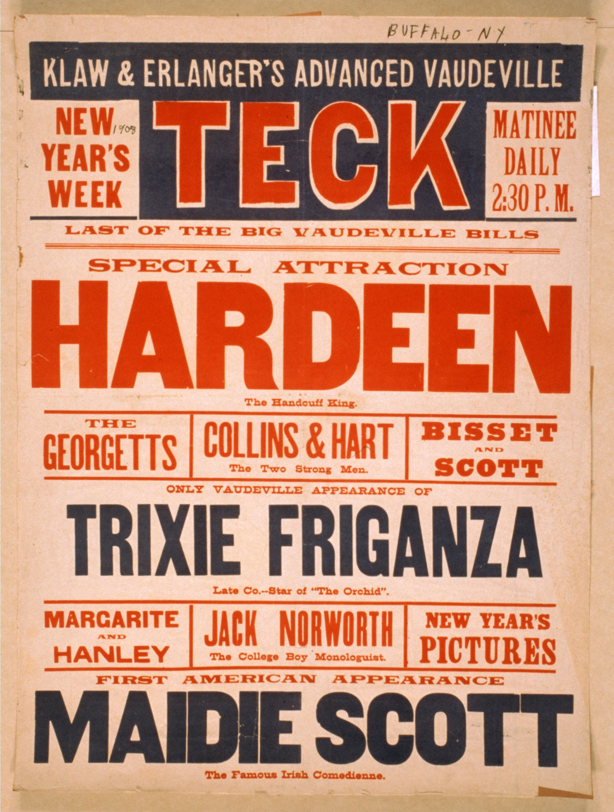 Poster for a Hardeen act on new years week, New York 1908