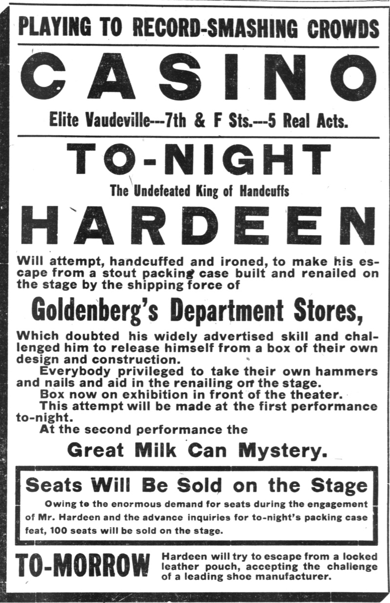 Hardeen Ad, Washington Times 1911