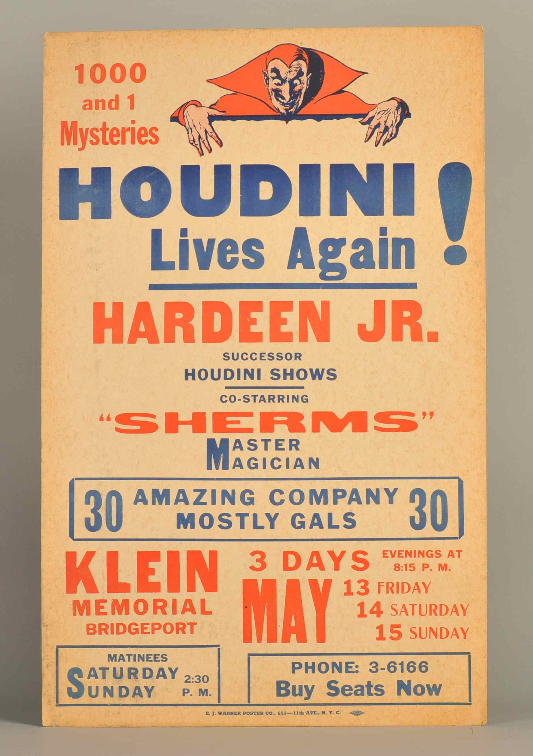 Poster for a performance by Hardeen Jr., successor to Houdini and Hardeen