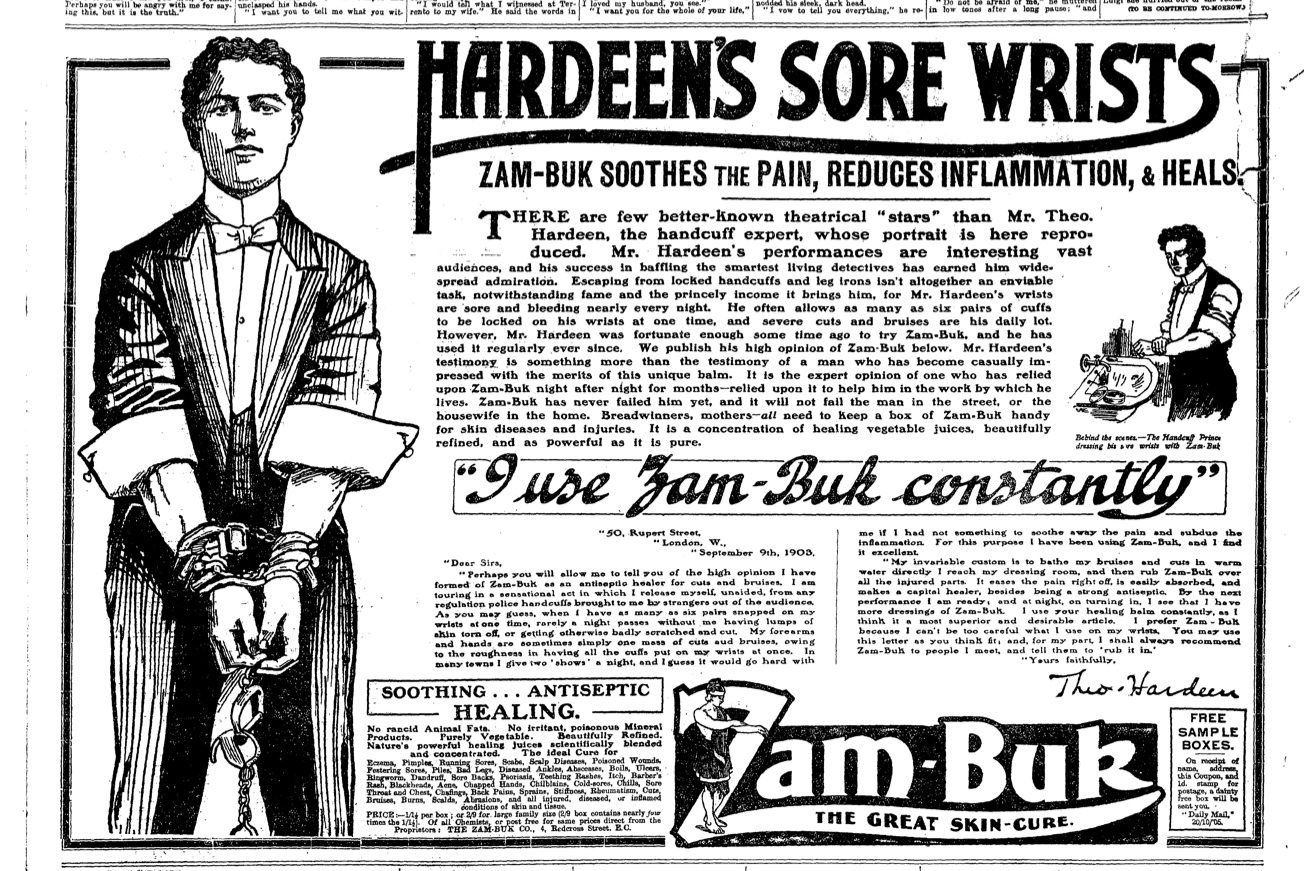 Hardeen's Sore Wrists newspaper Ad
