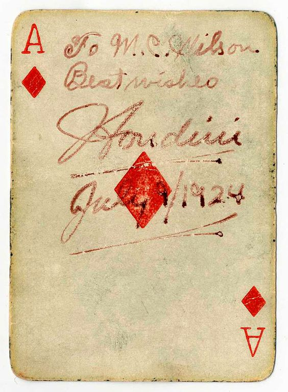 Harry Houdini signed playing card 1924