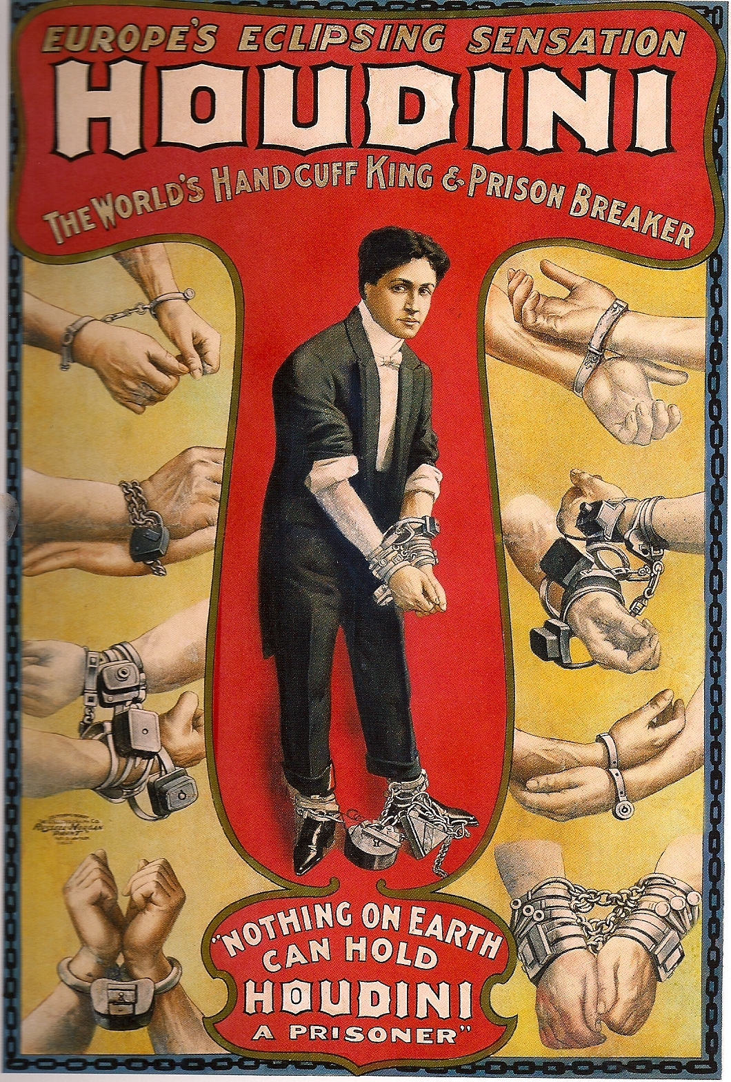 Poster for Houdini's European tour