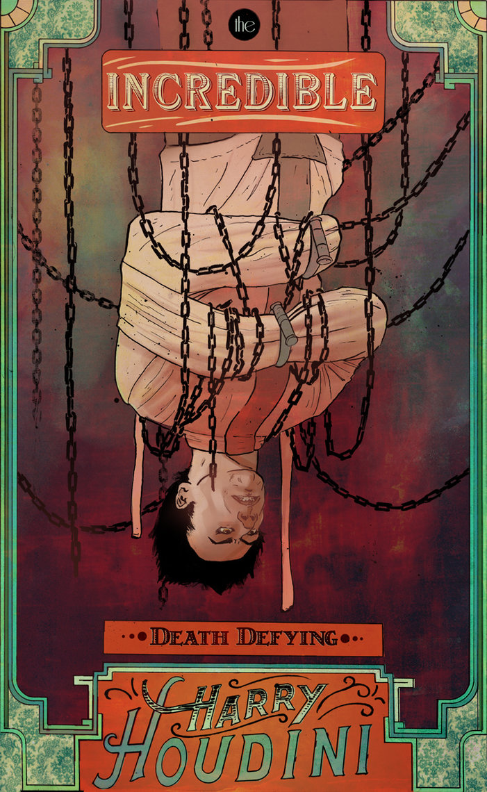 Ilustrated poster of Harry Houdini by Tyler Champion