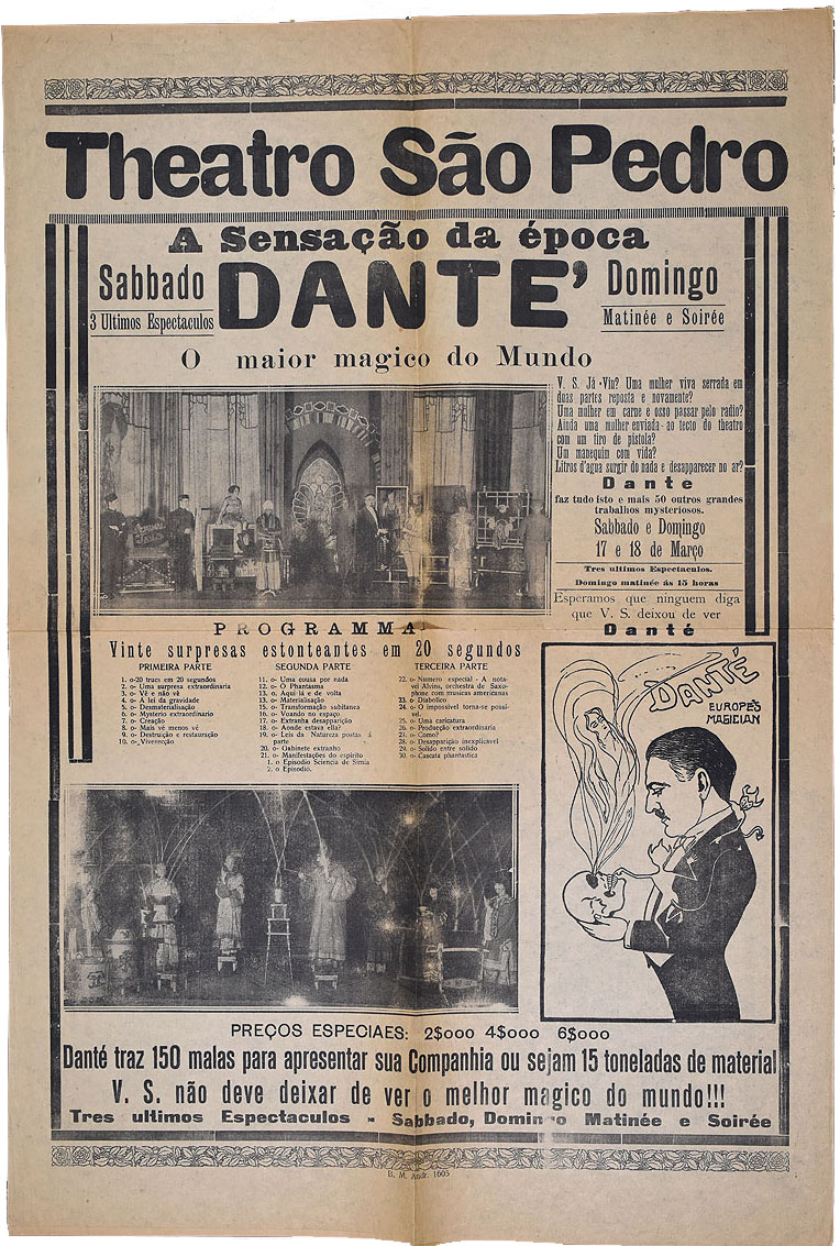 Poster for a Dante's performance at Theatro São Pedro, Brazil