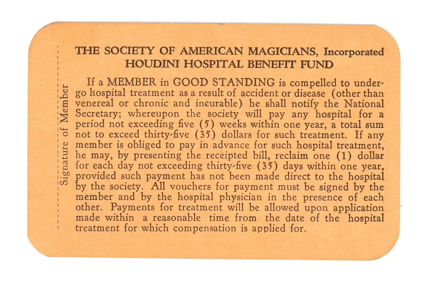 Back of a membership card for the Society of American Magicians, founded by Hardeen