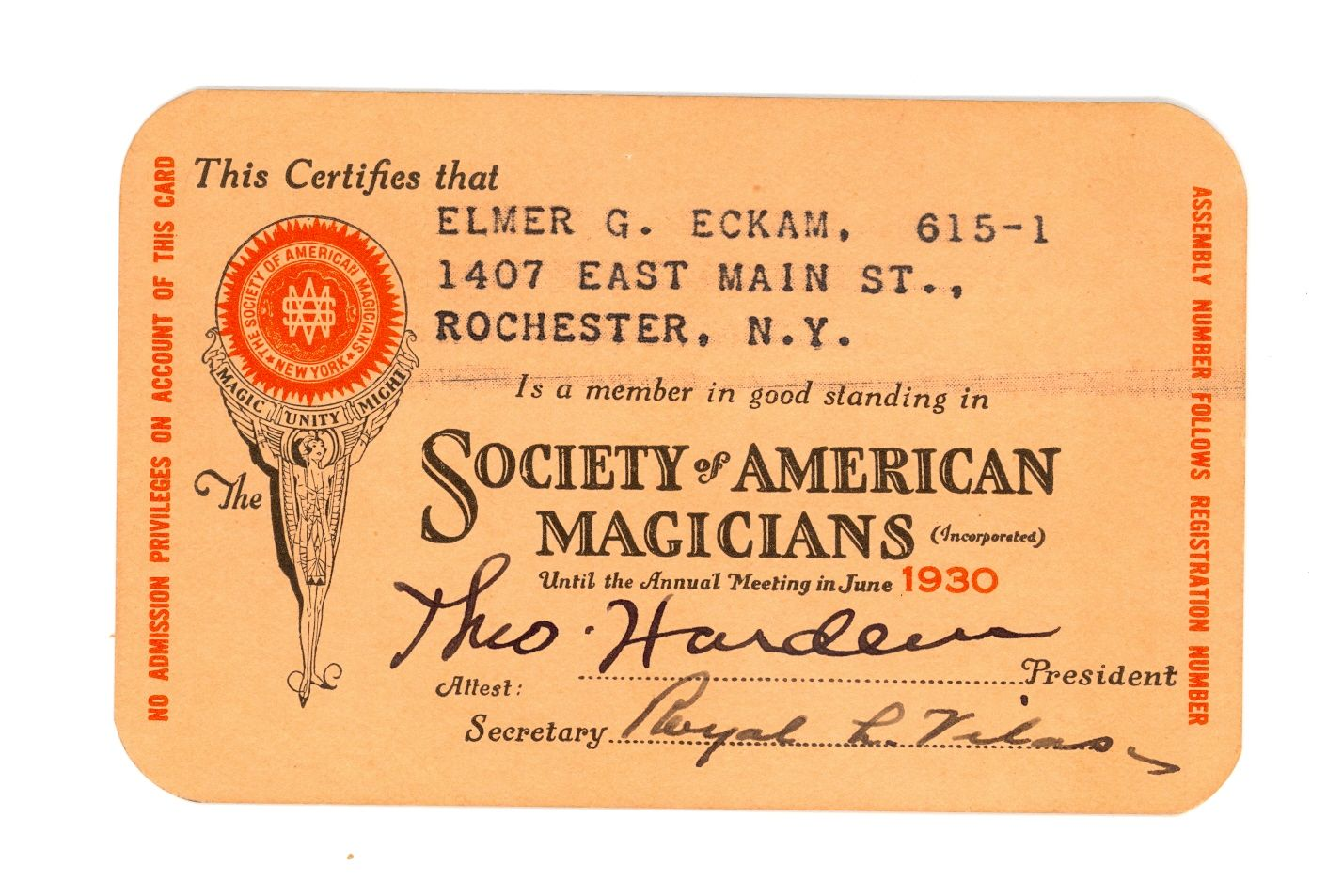 Hardeens signature in the front of the Society of American Magicians Membership Card