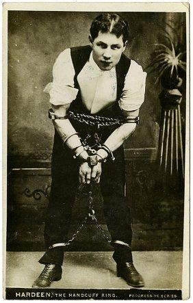 Theodore Hardeen in handcuffs