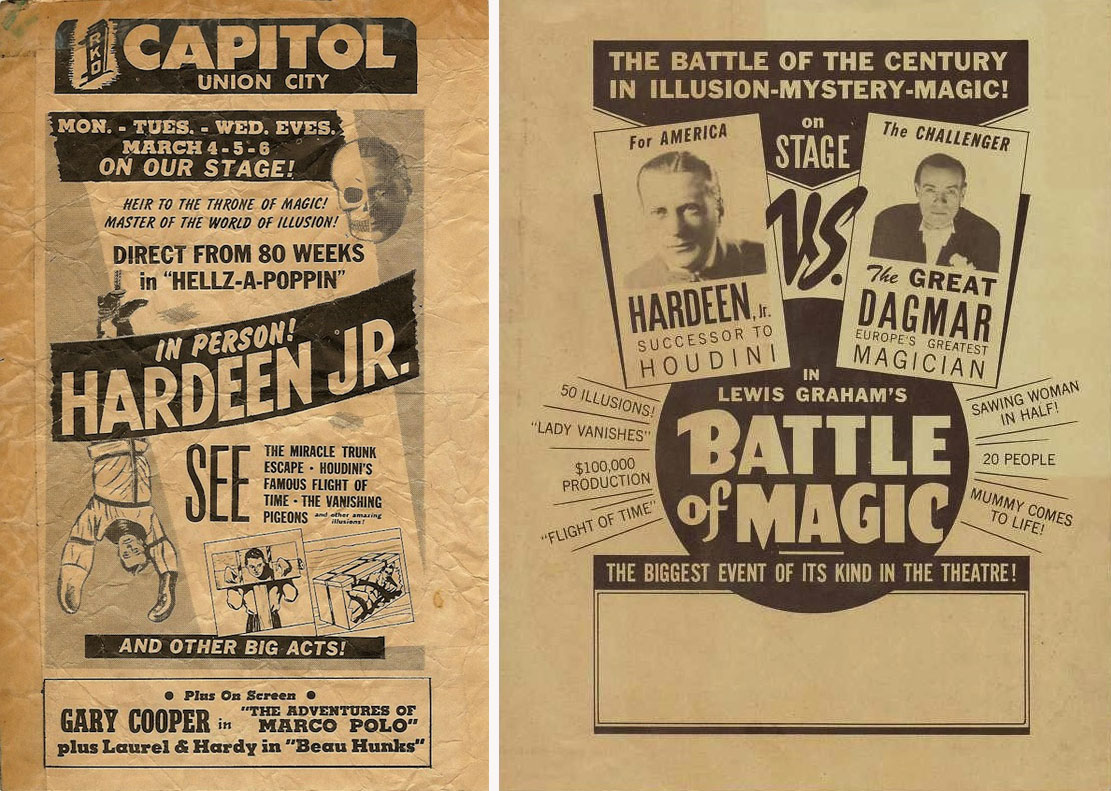Posters for Hardeen Jr's performances