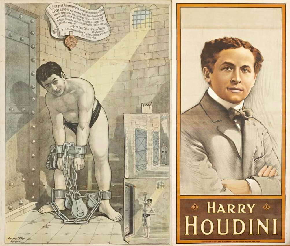 Poster displaying Harry Houdini's legendary escape skills